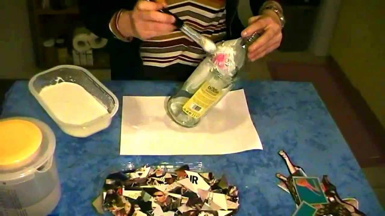 Riciclo creativo decoupage bottiglia di vetro youtube for Decoupage su vaso di vetro