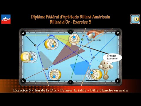 Diplôme Fédéral d'Aptitude Billard Américain - Billard d'Or - DFA3 BA - Exercice 5