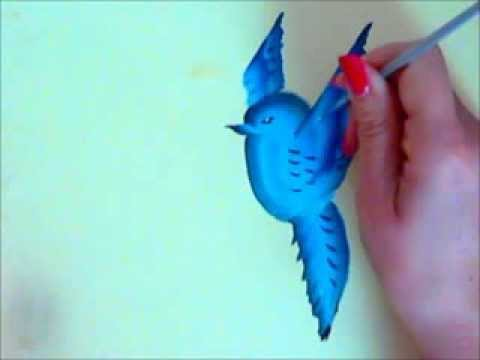One stroke bird painting