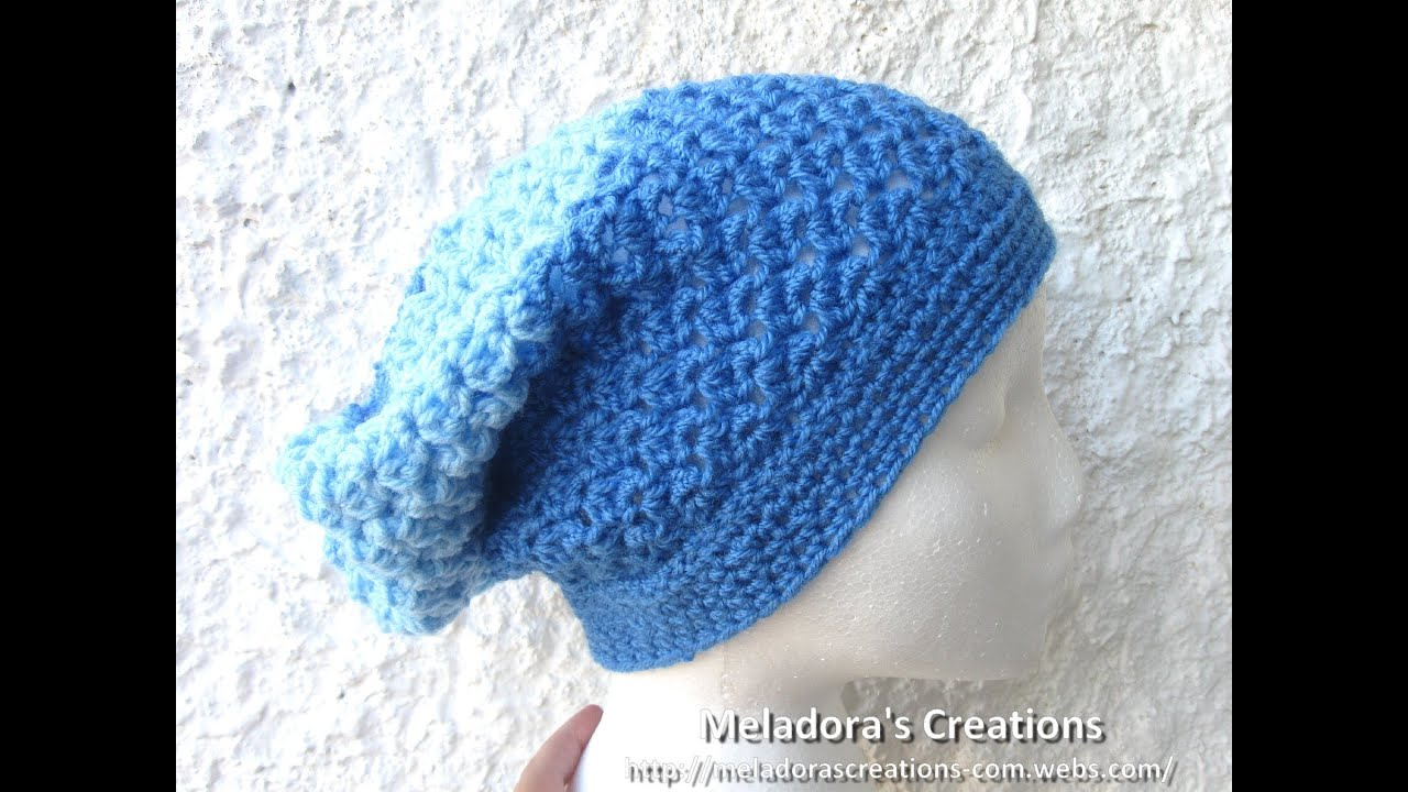 Angel Stitch Slouch Hat - Crochet Hat Tutorial - YouTube