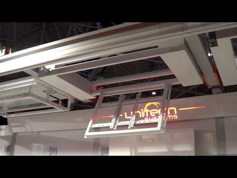 Unitech Systems FPLCV2SLIM flat panel ceiling lift at ISE 2013