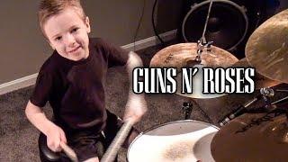 """Sweet Child O Mine, Instrumental"" Avery 6 year old Drummer & Karl Golden"
