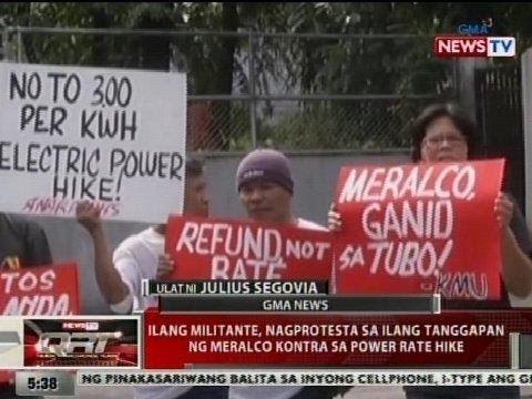 QRT: Ilang militante, nagprotesta sa ilang tanggapan ng Meralco vs power rate hike