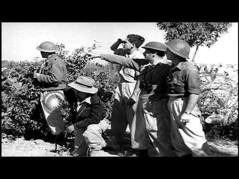 Israeli soldiers fire mortar rounds at enemy Arab positions HD Stock Footage