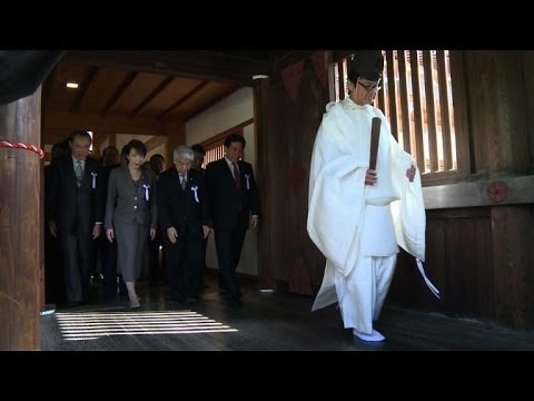 A group of nearly 150 Japanese lawmakers visit the controversial Yasukuni war shrine, a move that could further worsen ties with Asian neighbours. Duration: 00:59