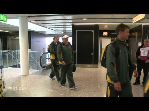 South African squad at Heathrow for London 2012 aboard branded jet