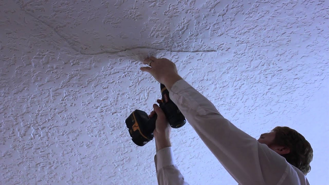 Ceiling plaster repair on a small buckling crack youtube What do we call a picture painted on a wall