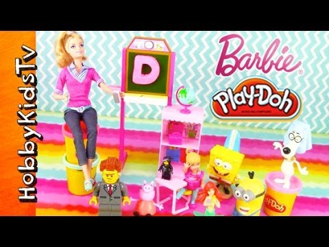 PLAY-DOH Barbie Teaches Toys! [Lego] [SpongeBob] [Minion] [Mr. Peabody] [Peppa] [Mermaid]