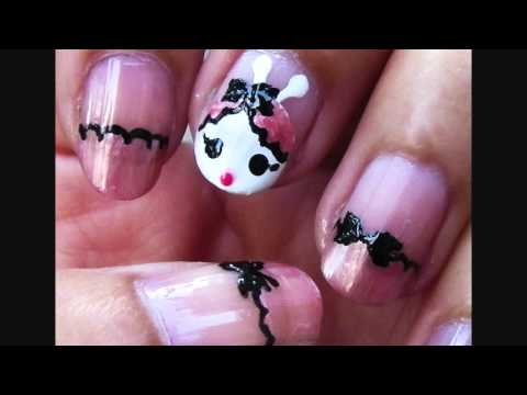 Girly Bunny and Lace French Tip Nail Art