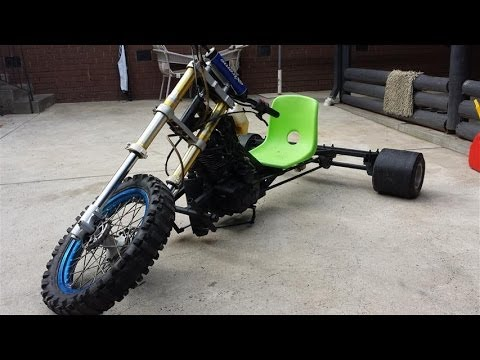 hey guys this is a test run of my newly designed drift trike. Runs a 250cc 5 spd man, front and rear disc brakes, gokart wheels parts and accessories. mild s...