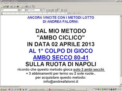 02.04.2013 ANCORA VINCITE: 1° COLPO AMBO SECCO DAL METODO LOTTO  AMBO CICLICO