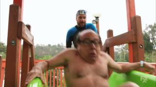 Frank tries The Thunder Gun Express water slide