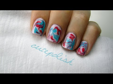 Dry Water Marble Nails,