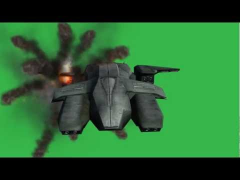 Green Screen - Halo pelican crash  in flames after crash -  free Green Screen - Chroma key Effect