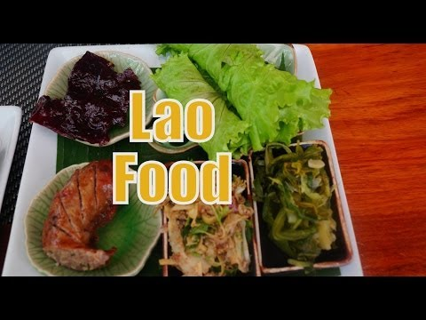Eating Lao Food and Lao Cuisine for lunch at Tamarind Restaurant in Luang Prabang, Laos