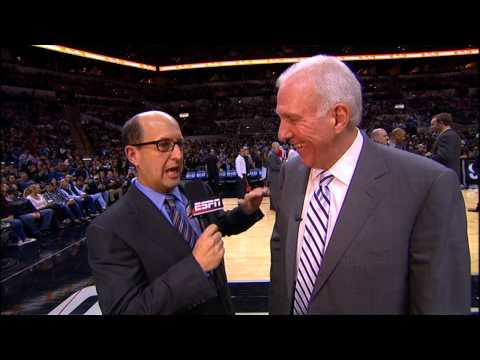Gregg Popovich Hugs Jeff Van Gundy During Interview!