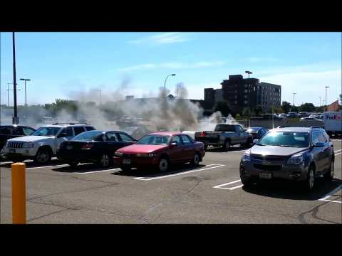 Vehicle fire in Discland parking lot