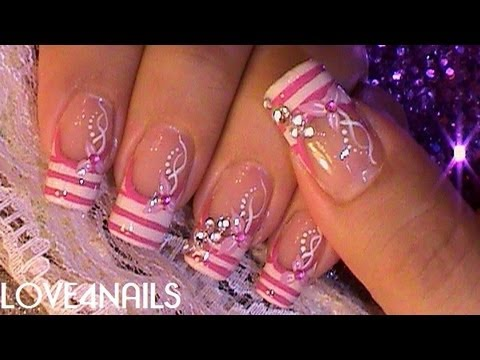 Uñas Decoradas Con Cristales Color de Rosa