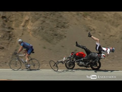 Motorcycle Crashes into Bicycles 4/27/2013