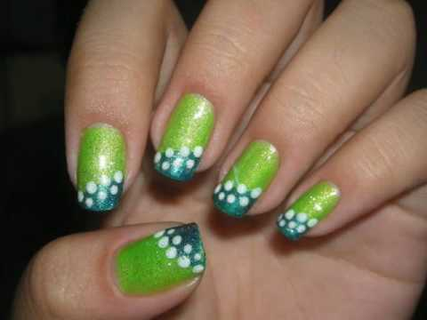 Nail Design Tutorial: Green and Blue Nails - YouTube