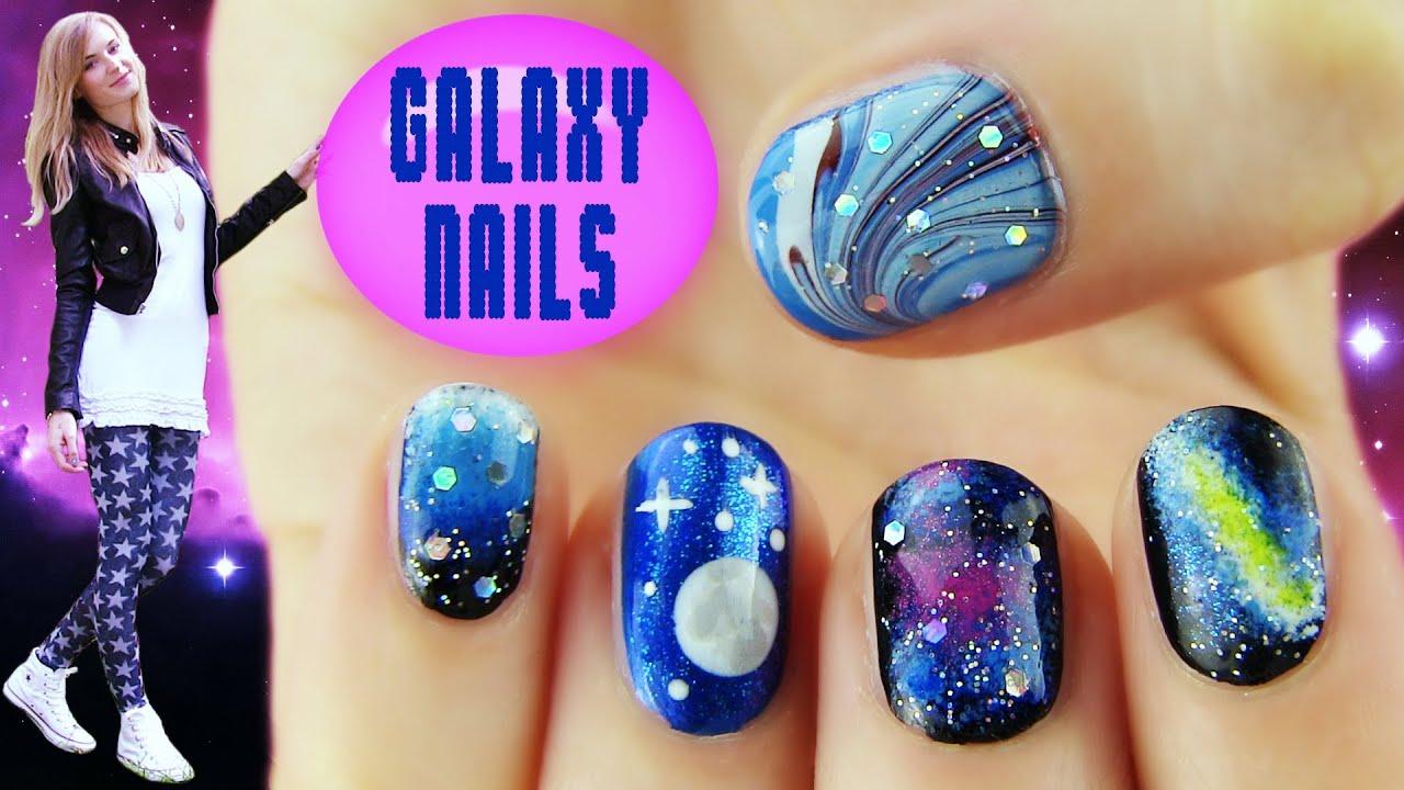 Galaxy nails 5 galaxy nail art designs ideas youtube Diy nail art ideas youtube