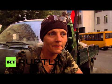 Ukraine: DPR unit members arrive in Donetsk after leaving Slavyansk