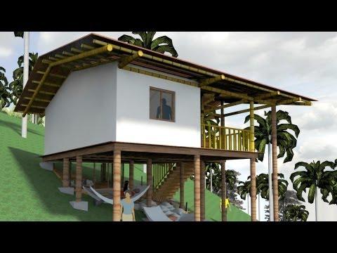 Casa indígena Palafitica en madera y bambú Guadua