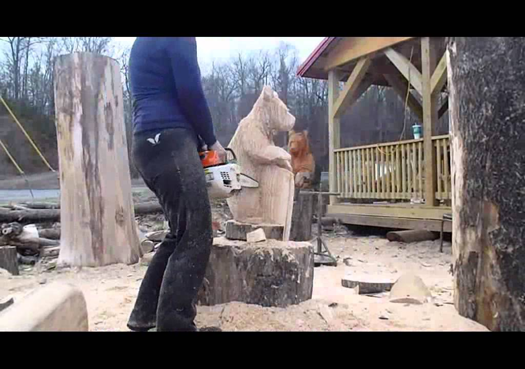 Chainsaw bear carving by kelly madsen youtube