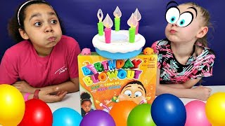 BIRTHDAY CAKE BLOWOUT Toy Challenge Game - Surprise Toys | Toys AndMe