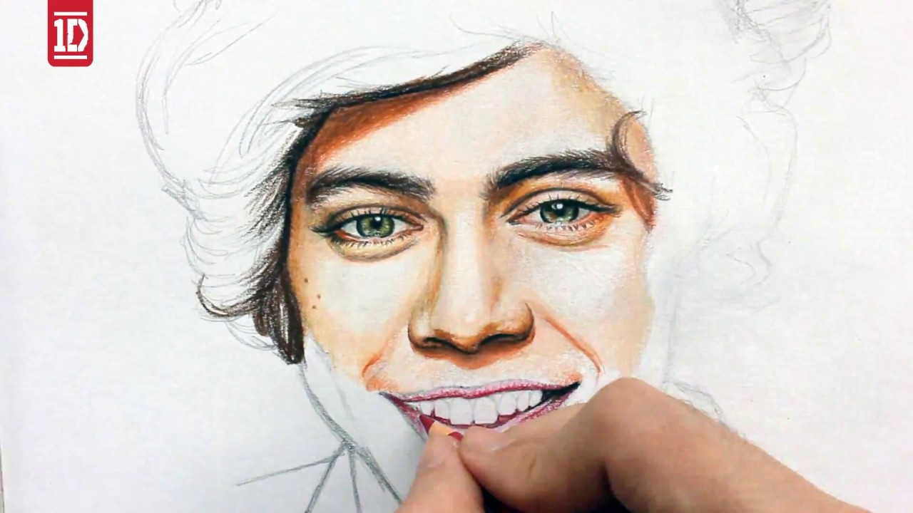 WOW crazy freakin awesome drawing and coloring Harry Styles!!! One Direction drawing from juan andres Da Corte Directioner sejati harus liat!!!