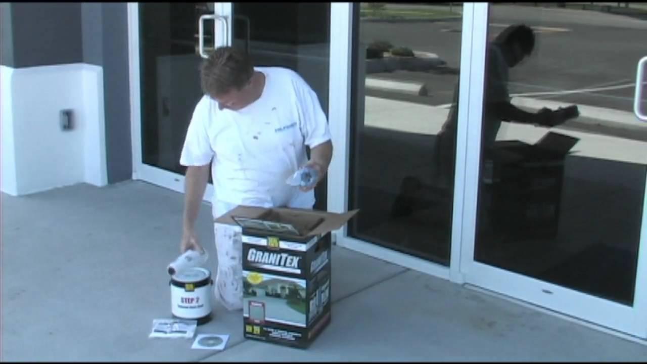 Applying Concrete Floor Coating Granitex From Lowe S Youtube