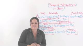 Subject With an Active Verb and Object,  English Sentences