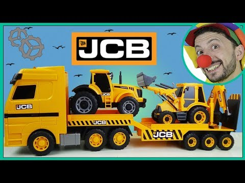 Funny Clown Bob Unboxing Construction vehicles Truck Trailer Bulldozer Excavator