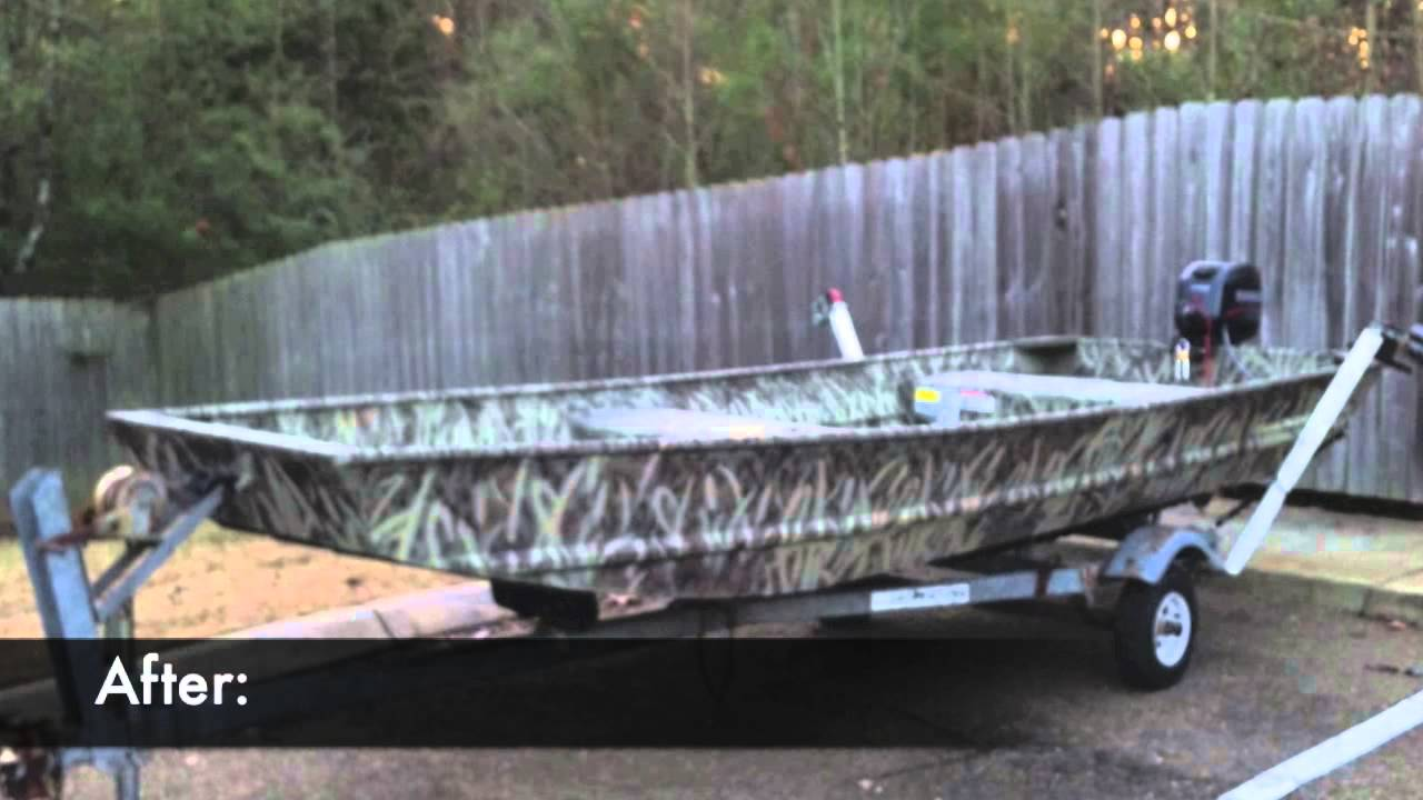 Camo Paint Job For A Duck Boat Jon Boat Youtube