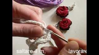 Video Tutorial Orecchini All'uncinetto Con Rosa Rossa
