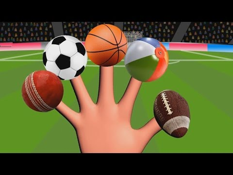 FUN LEARN TYPES OF SPORTS BALLS   finger family playing balls   colourful ball family with song