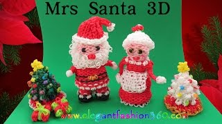 Rainbow Loom Mrs Santa 3D Charm/Holiday/Christmas/Santa