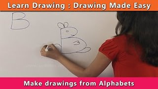 How to draw using Alphabets | Learn Drawing For Kids | Learn Drawing Step By Step For Children