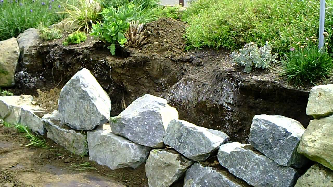 Trockenmauer bauen youtube - Steingarten anlegen aufbau ...