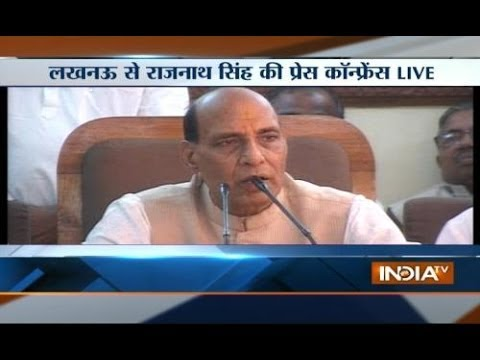 Rajnath Singh addresses mediapersons in Lucknow