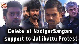 Celebs at #Nadigar Sangam support to #Jallikattu Protest