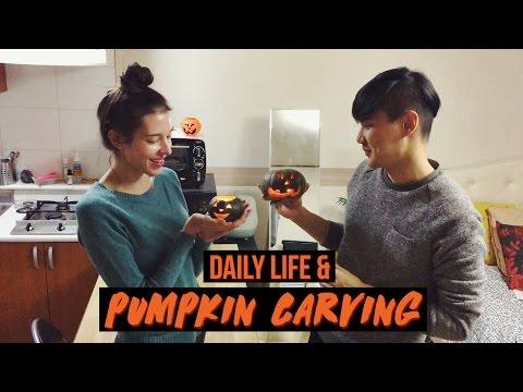 VLOG: Daily Life & 1st Time Pumpkin Carving 🎃 국제커플 할로윈 호박 조각하기 '잭오랜턴' (자막CC)