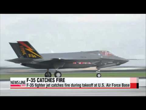 F-35 fighter jet catches fire during takeoff at U.S. Air Force Base