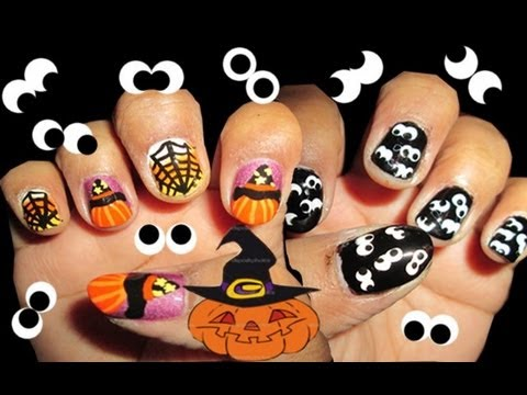 Halloween: pumpkin, witch, spider and googly eyes nail art