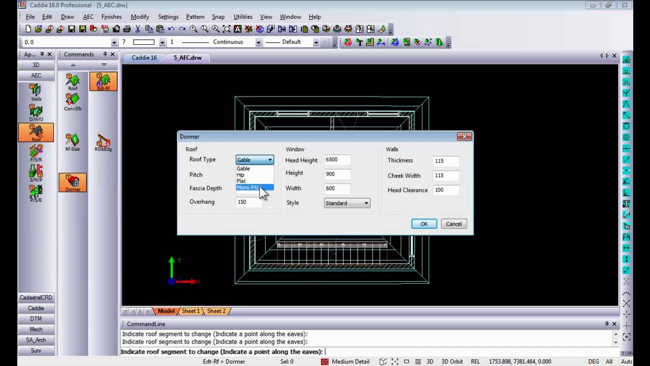 Aec 2d plan to 3d render in caddie dwg architecture for 2d plan drawing software