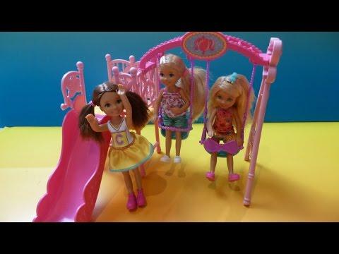 Máng Trượt Và Xích Đu Của Búp Bê Chelsea (Bí Đỏ) New Barbie Sisters Chelsea Slide And Swing Playset