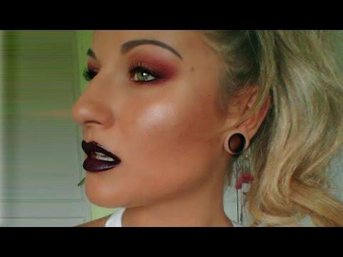 TUTORIAL:Maquillaje OSCURO ojos y labios.TONOS CÁLIDOS GRANATE.Dark eyes&lips makeup.LABIOS NEGROS