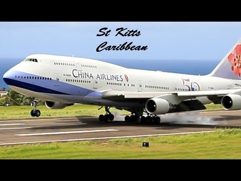 China Airlines 747-400 @ St Kitts (President Ma Ying-jeou of Taiwan Arrival) HD 1080p !!!!!