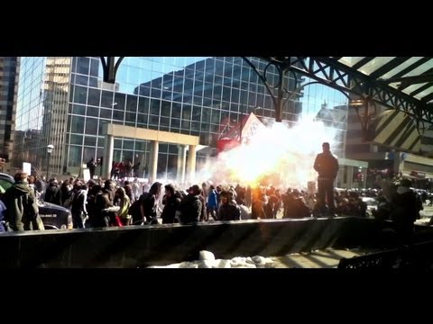 Montreal Student Protest and Riot - Charged by Police with Tear Gas