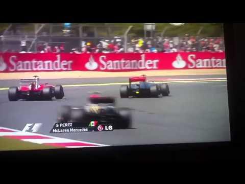 F1 - Sergio Checo Perez Overtake (rebasa) Felipe Massa. Silverstone 2013